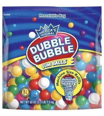 Dubble Bubble Gum Balls Assorted Fruit Flavors 3lb Bag Free Shipping