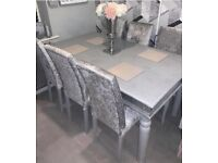 6 seater table and 6 crushed velvet chairs