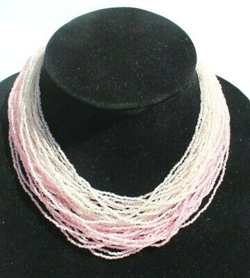 60s -70s Jewelry – Necklaces, Earrings, Rings, Bracelets Vintage 1960s Retro Mod Beaded Pink Rope Choker Cocktail Costume Necklace $12.50 AT vintagedancer.com