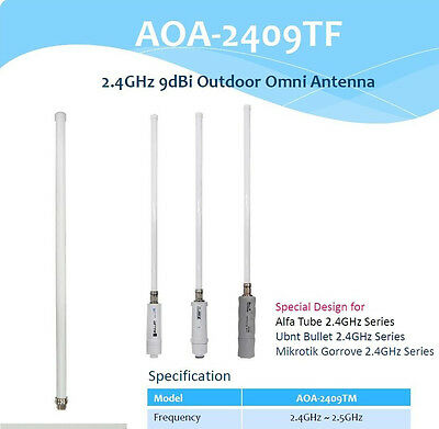 Alfa AOA-2409TF 2.4GHz 9dBi Outdoor Omni Antenna