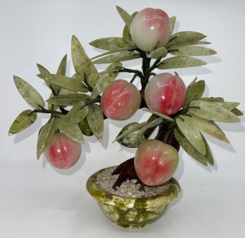Vintage Chinese Jade & Hard Stone Carved Feng Shui Peach Tree