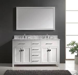 "60"" White Traditional Bathroom Vanity- COMPLETE SET"