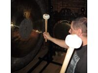 Gong Bath for wellbeing played by two Gong Masters with 10 gongs and other instruments