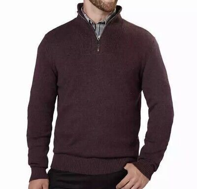 New Calvin Klein Jeans Men's ¼ Zip Pullover Knit Sweater 2XL XXL Pinot Grindle