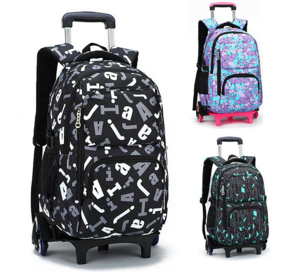 Boys Girls Kids Rolling Backpack Rucksack Schoolbag Trolley