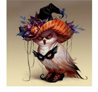 Full Square Diamond Painting Cute Owl Halloween Costume Embroidery Design 5D