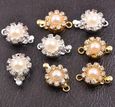 5Sets Crystal Rhinestone Pearl Flower Box Clasp for Bracelets Necklace