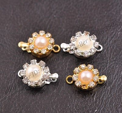 5 Sets Crystal Rhinestone Pearl Flower Box Clasp for Bracelets Necklace