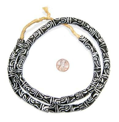 Village Krobo Elbow Powder Glass Beads 9mm Ghana African Black and White