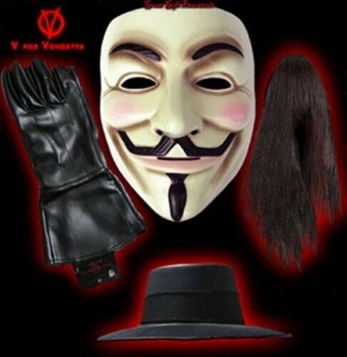 V FOR VENDETTA MASK, WIG, GLOVES, HAT SET Costume Guy Fawkes Anonymous LICENSED