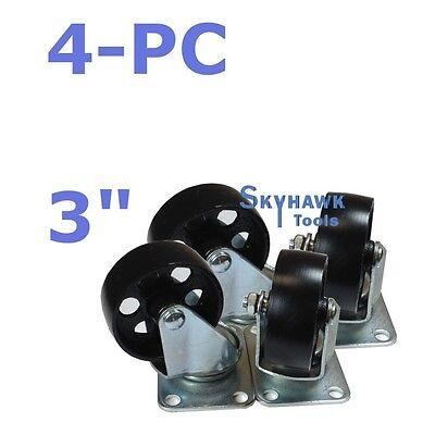 """4pc 3"""" 1400lb-Cap ALL-STEEL WIDE WHEEL SWIVEL TOP PLATE CASTER SET"""