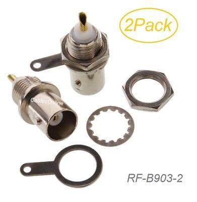 2-Pack BNC Female Chassis Mount 50-ohm RF Connectors, RF-B903-2 ()