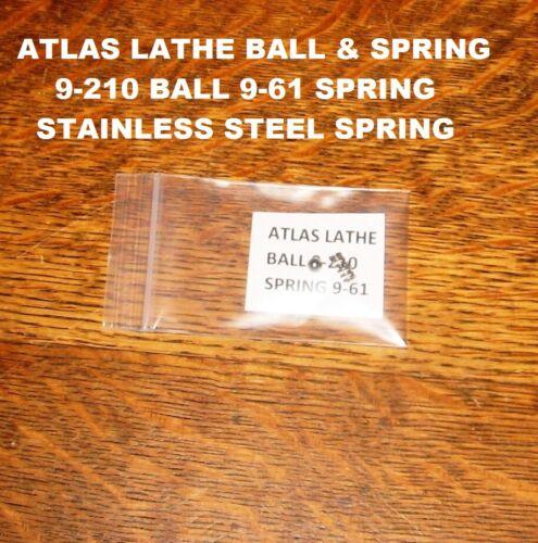 "NEW Atlas Craftsman Lathe 6"" 10"" 12""  Ball 9-210 & Spring 9-61 Stainless Steel"
