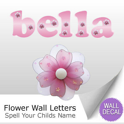 (Name Wall Letters Alphabet Stickers Initial Decals Girls Decor Pink Daisy Flower)