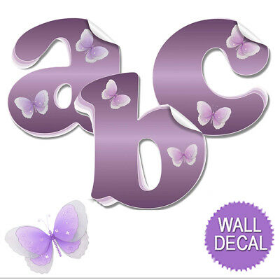 Name Wall Letters Alphabet Stickers Initial Decals Girls Decor Purple (Decor Name Letters)