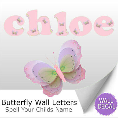 (Name Wall Letters Alphabet Stickers Decals Girls Decor Pink Purple Butterfly)