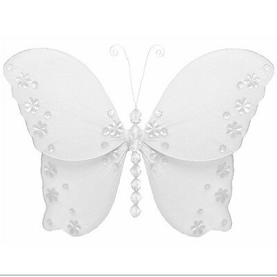 Wedding Butterflies White Nylon Hanging Bridal Party Butterfly Accessories Decor](Butterfly Party)