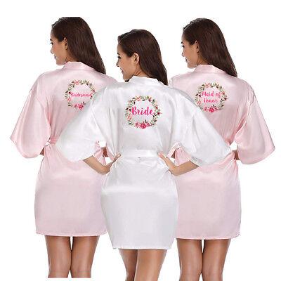 Womens Satin Silk Wedding Robe Bridesmaid Bride Maid of honor Dressing Gown