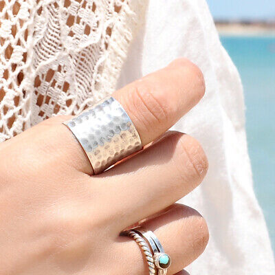 - Sterling Silver Ring 925 Genuine Handmade Extra Wide Band Cigar Chic Size