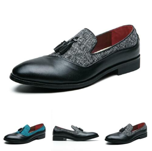 Details about  /Mens Tassels Faux Leather Oxfords Pointy Toe Slip On Business Work Shoes Party L