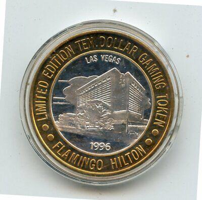 1996 $10 Flamingo Hilton Casino .999 Fine Silver Gaming Token (In Capsule)