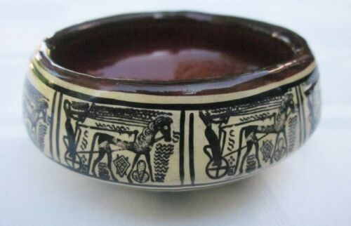 P. Vassilopoulos Pottery Decorative Bowl Greece Handmade Horse Drawn Chariot