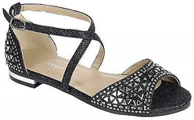 Rhinestone Criss Cross Ankle Double Straps Buckle Block Chunky Low Heel Sandals