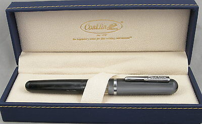 Conklin Heritage Grey & Chrome Sleeve-Filler Fountain Pen - Stub Nib - New