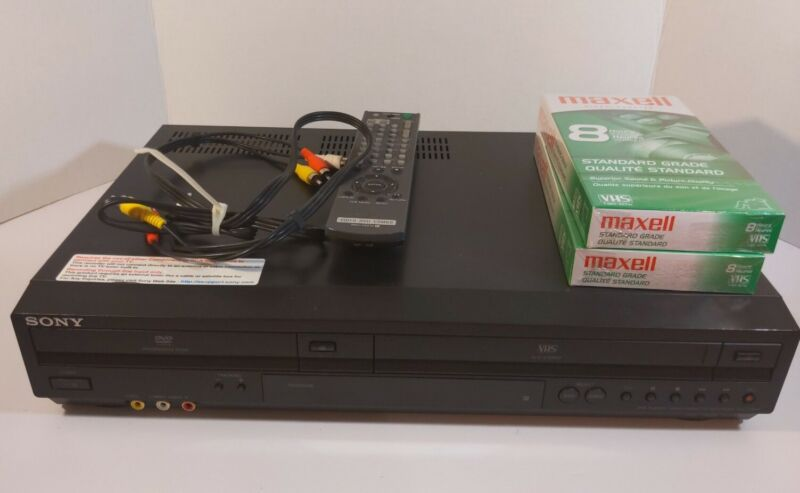 Sony SLV-D380P DVD/VCR 4-Head HiFi Combo Player/Recorder with Remote + vhs Tapes