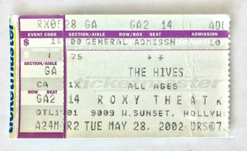 THE HIVES 2002 CONCERT TICKET STUB THE ROXY WEST HOLLYWOOD VENI VEDI VICIOUS