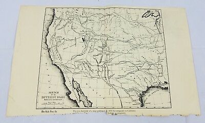 California Emigrants Map 1859 Vintage Map Halle Bros. Co US History Early Roads