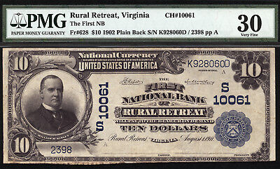10 1902 First National Bank Of Rural Retreat  Virginia Ch 10061 Only 12 Large