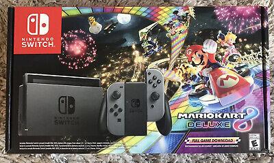 Brand New Nintendo Switch 32GB Console Gray Joy-Con - Mario Kart 8 Deluxe Bundle