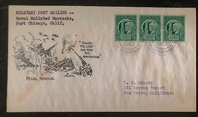1943 Port Chicago Ca USA Navy Post Office Patriotic Cover To San Pedro Pearl Har (Port Chicago)