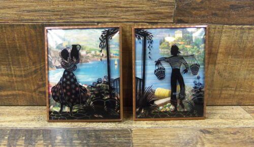 Vtg Pair Reverse Painted Silhouette Pictures W/Convex Glass Getting Water 4x5