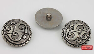 10 X 38mm Vintage Style Antique Silver Resin Shimmering Big Buttons Sewing Craft