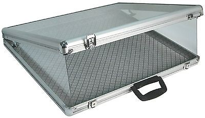 Aluminum Glass Top Display Locking Travel Table Counter Top Case w/side panel