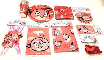 64 tlg Angry Birds Pink  Party-Set Geburtstag Becher Teller Servietten Ballons