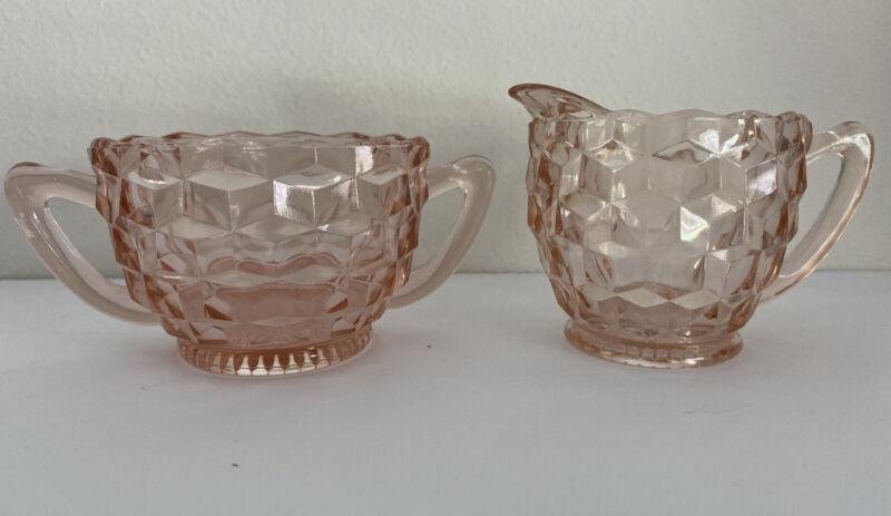 Vintage Jeannette Pink Depression Glass Cube Cubist Open Sugar Bowl and Creamer