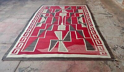 Navajo 1920s Chinle Rug with beautiful Red Geometric figures