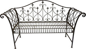 Vintage Look Rustic Metal Outdoor Garden Bench with Ornamented High Backrest NEW