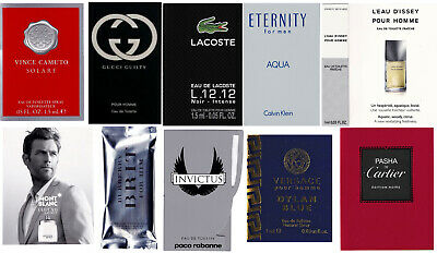 Lot of 12 Men`s Cologne Samples Burberry Gucci Versace Lacoste Paco Rabanne CK Mint Cologne Spray