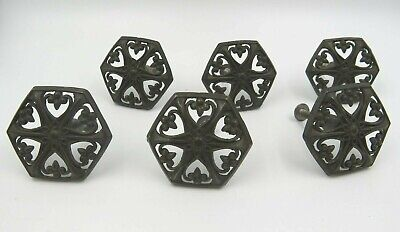 Vintage Set of 6 Decorative Metal Drawer Handles