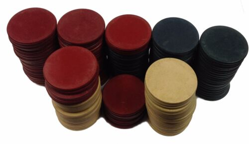 Set of 147 Vintage Plain Chips Brown-Red and Blue Chips FREE SHIPPING