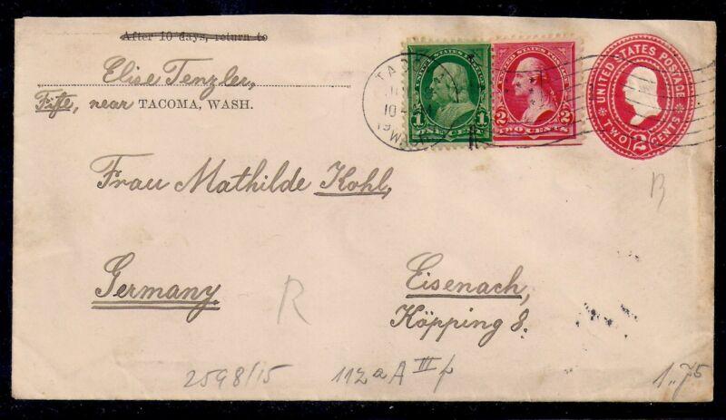 1900 Tacoma, Washington to Eisenach, Germany - Flag Cancel