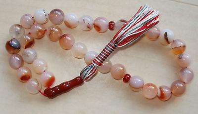 Tasbih Tesbih Gebetskette Heilstein Agate Achat Onyx 33 Perlen  #25