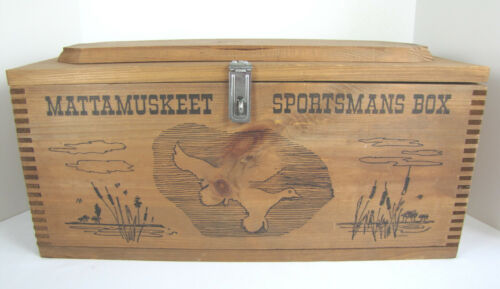 Mattamuskeet Sportsmans Dovetailed Wooden Box w/ Tray ~ Fishing Hunting or Ammo