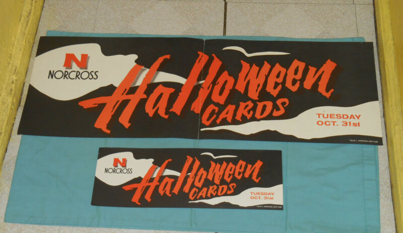 vintage original NORCROSS greeting cards HALLOWEEN ADVERTISING SIGNS lettering
