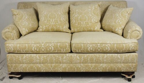 Hendredon Custom Upholstered Sofa with Cream Damask Chenille Fabric