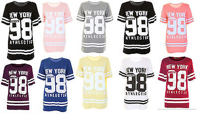 Ladies New York 98 Baseball Varsity Top Womens Oversized Baggy T-shirt UK 8-26